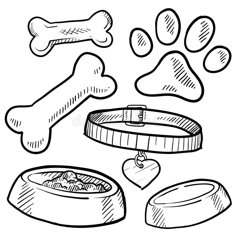 Pet Dog Items Sketch Royalty Free Stock Photography