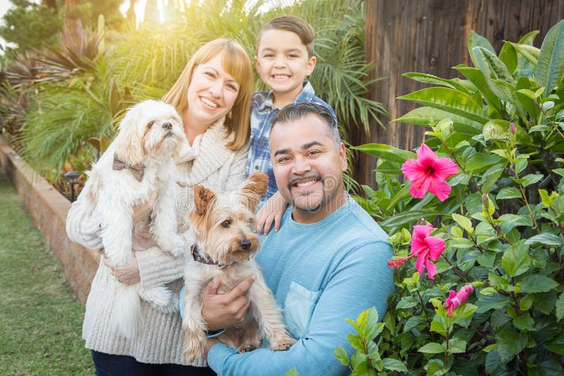 Pet Dogs with Mixed Race Family Portrait Outdoors. Happy Mixed Race Family Portrait Outdoors stock image