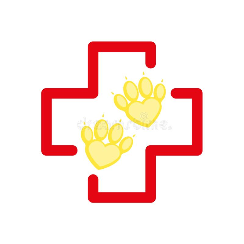 Pet First Aid. Red cross and paw as heart. Vet hospital logotype. Flat cartoon style vector illustration