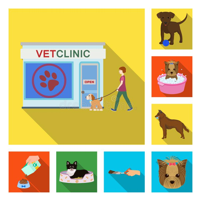 Pet flat icons in set collection for design. Care and education vector symbol stock web illustration. Pet flat icons in set collection for design. Care and stock illustration