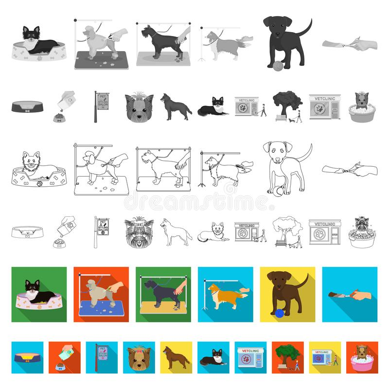 Pet flat icons in set collection for design. Care and education vector symbol stock web illustration. Pet flat icons in set collection for design. Care and royalty free illustration