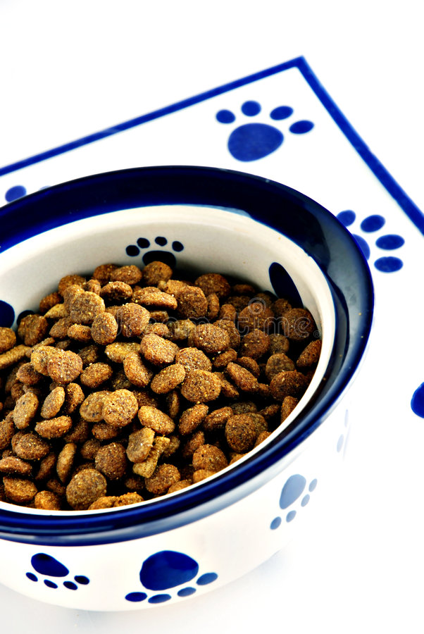 Pet food. Bowl of dry pet food and dog biscuits stock image