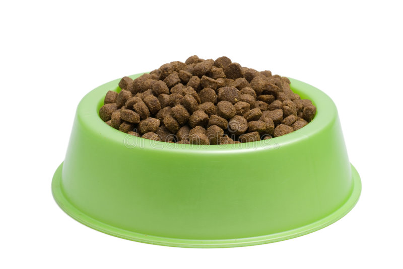 Pet Food Bowl. Isolated White on Background royalty free stock images