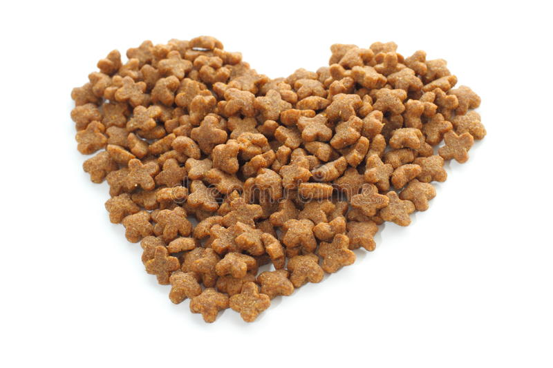 Pet food heart. royalty free stock photos