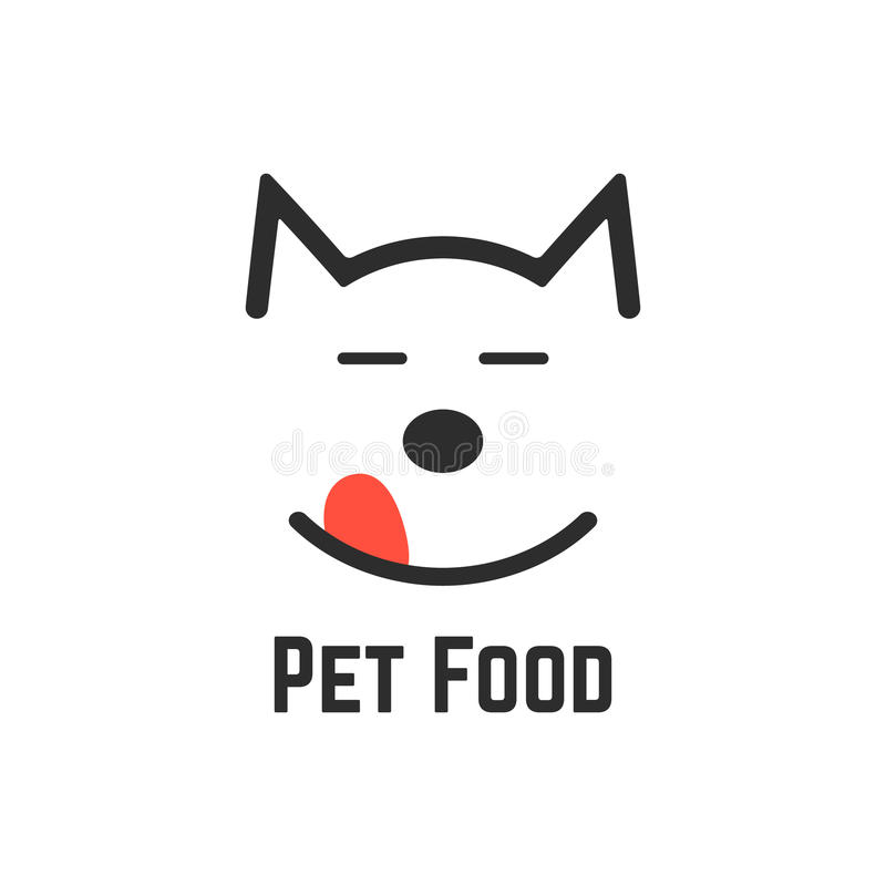 Pet food logo with dog icon. Concept of veterinary, visual identity, vet, dog forage, wildlife, pet store, feed. on white background. flat style trend modern royalty free illustration