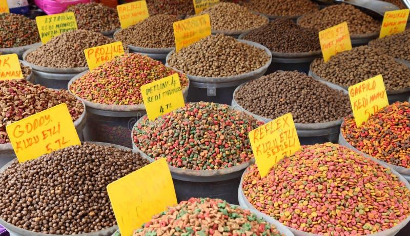 Pet food market. Pet food at the bazaar in Istanbul, Turkey stock images