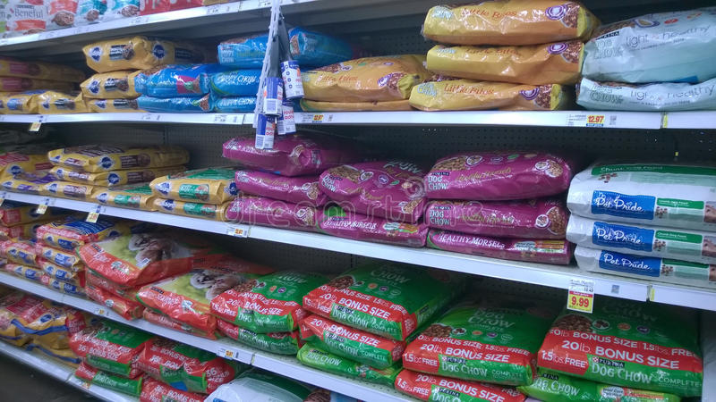 Pet food selling at store. Pet food on shelves selling at store Kroger USA royalty free stock image
