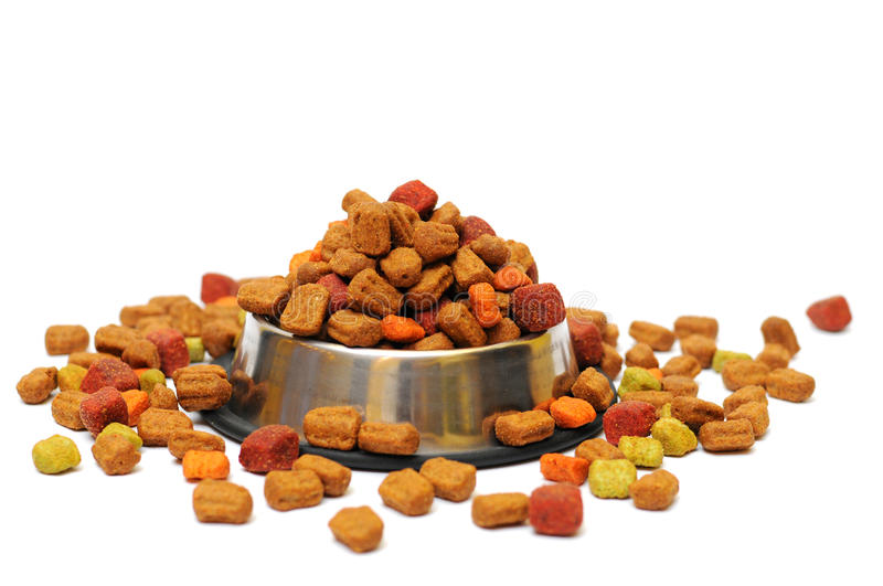 Pet food. In a silver bowl on a white background stock images