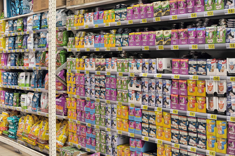 Pet Food at Store. Pet food on a store shelf. Russia stock photos