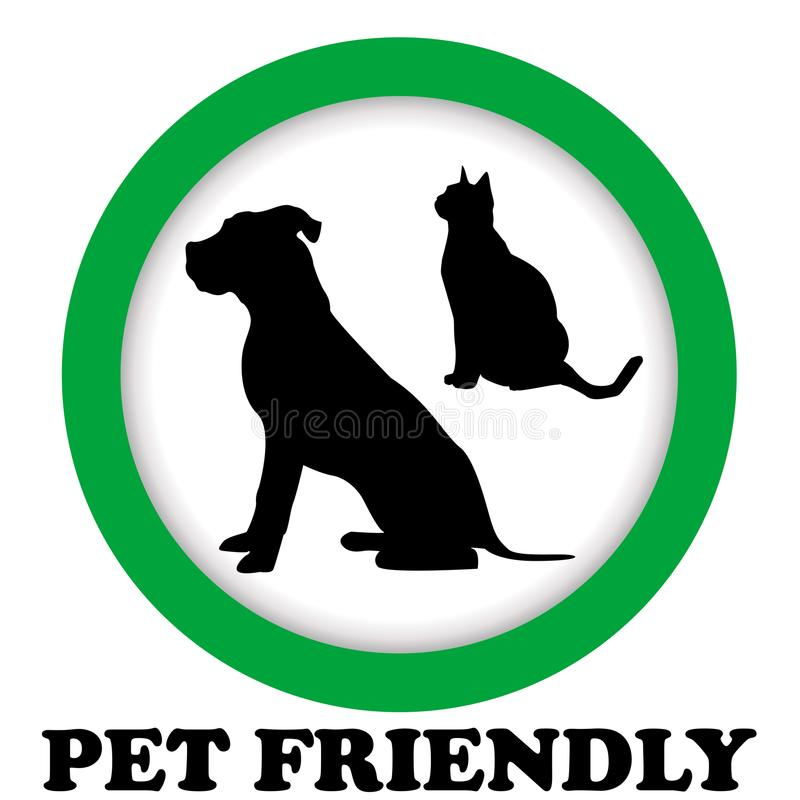PET FRIENDLY sign. With cat and dog silhouettes royalty free illustration