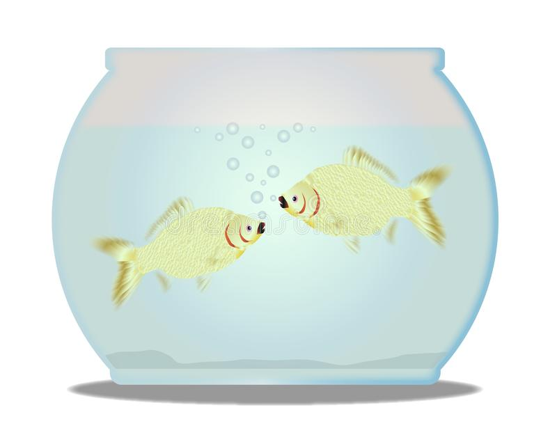 Pet Goldfish Bowl With 2 fish Over A White Background. A trpical pet goldfish bowl with fish over a white background stock illustration