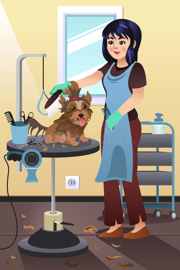 Pet Groomer Grooming a Dog at the Salon vector illustration