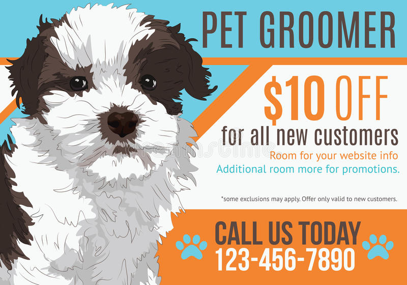 Pet groomer postcard template. Dog grooming postcard advertisement with adorable puppy and coupon