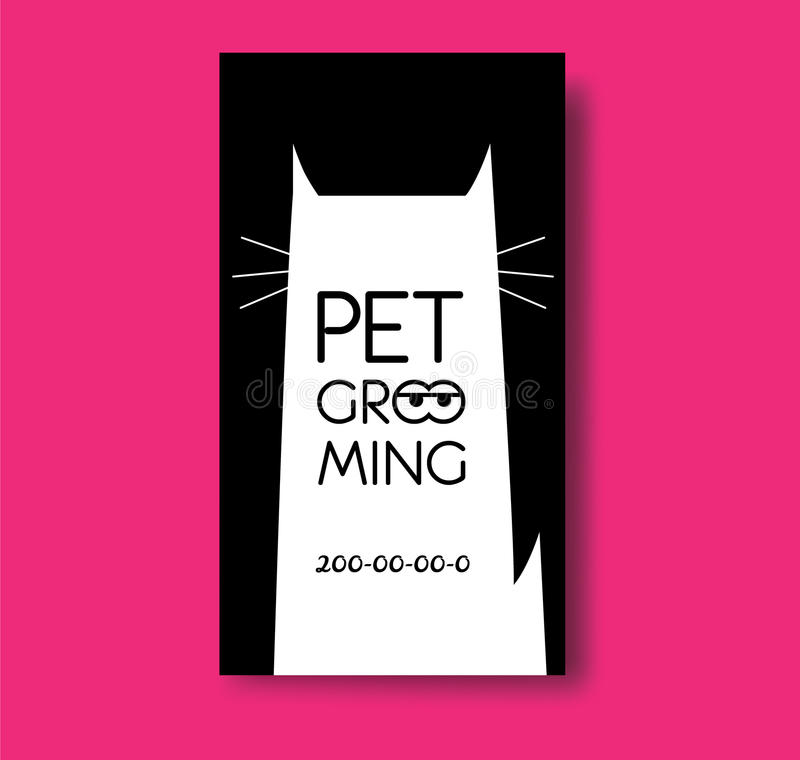 Pet Grooming Business Card Design Template With Cat Silhouette ...
