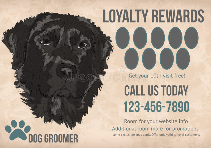 Pet grooming loyalty card tempalte. Pet Grooming customer loyalty rewards card template design royalty free illustration