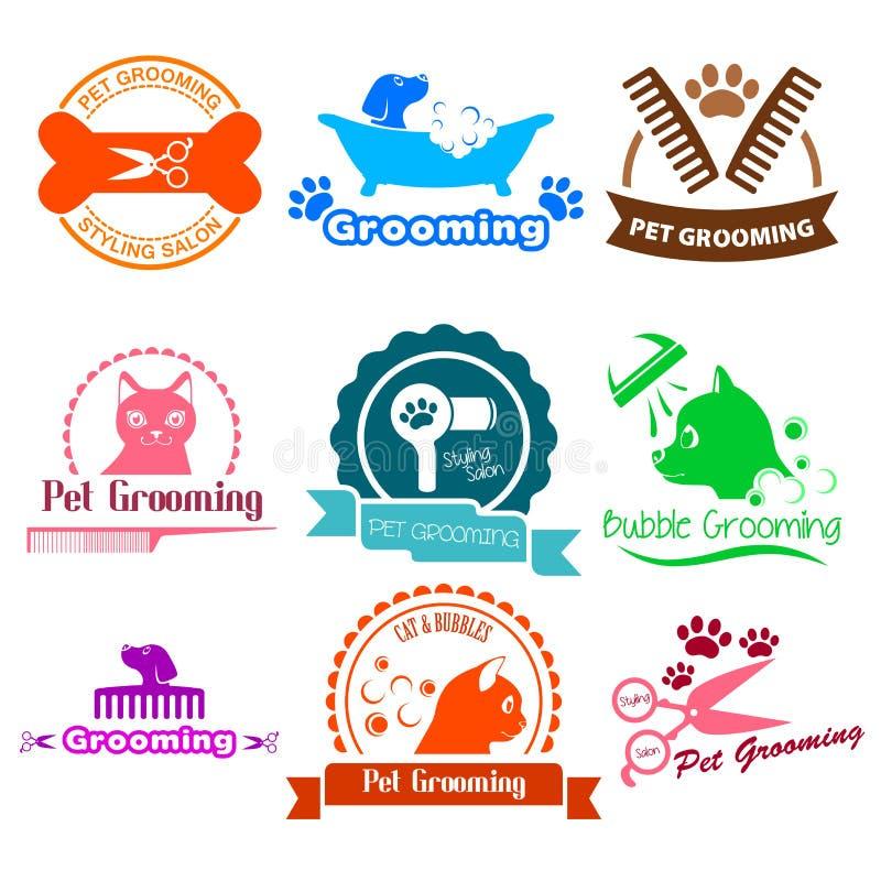 Pet Grooming Service Business Logos stock illustration