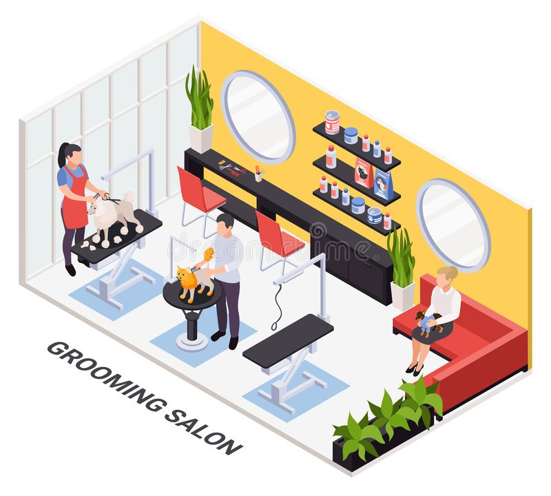 Cat Grooming Pet Shop Logo Template:  Grooming Advertisement Postcard Template Stock Vector