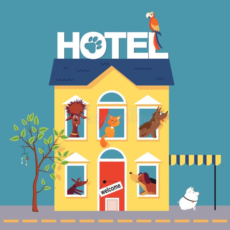 Pet hotel vector illustration