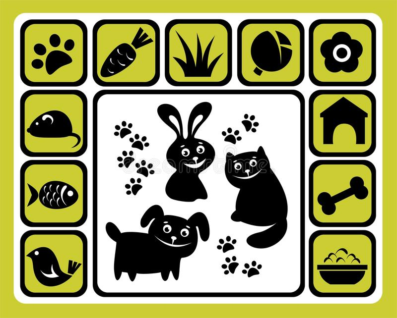 Download Pet icons set stock vector. Illustration of frame, home - 12064100