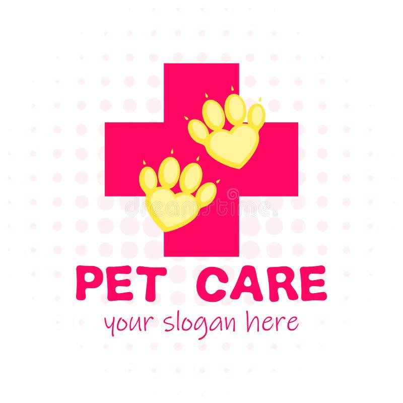 Pet il pronto soccorso Croce rossa e zampa come cuore Logotype veterinario della clinica Stile piano del fumetto royalty illustrazione gratis
