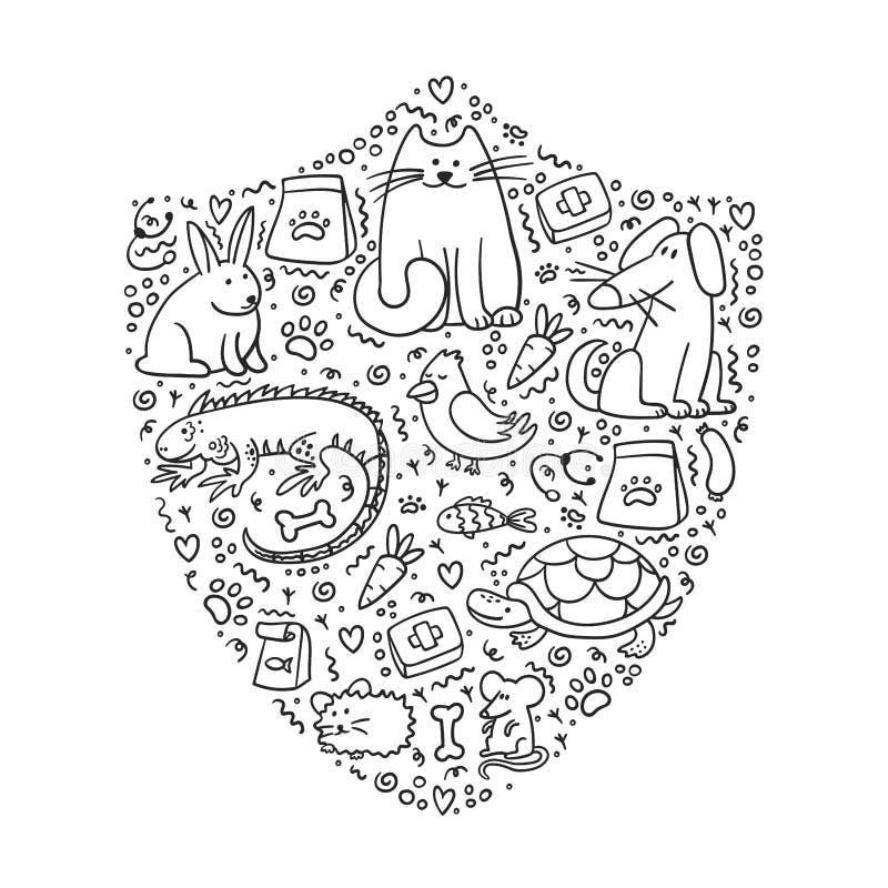 Pet insurance. Shield with doodle pets inside. Pet care stock illustration
