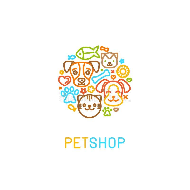 Pet logo design elements stock illustration
