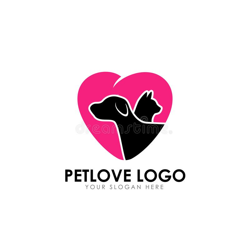 Pet love logo design template. pet care vector icon stock illustration