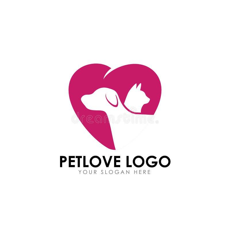 Pet love logo design template. pet care vector icon vector illustration