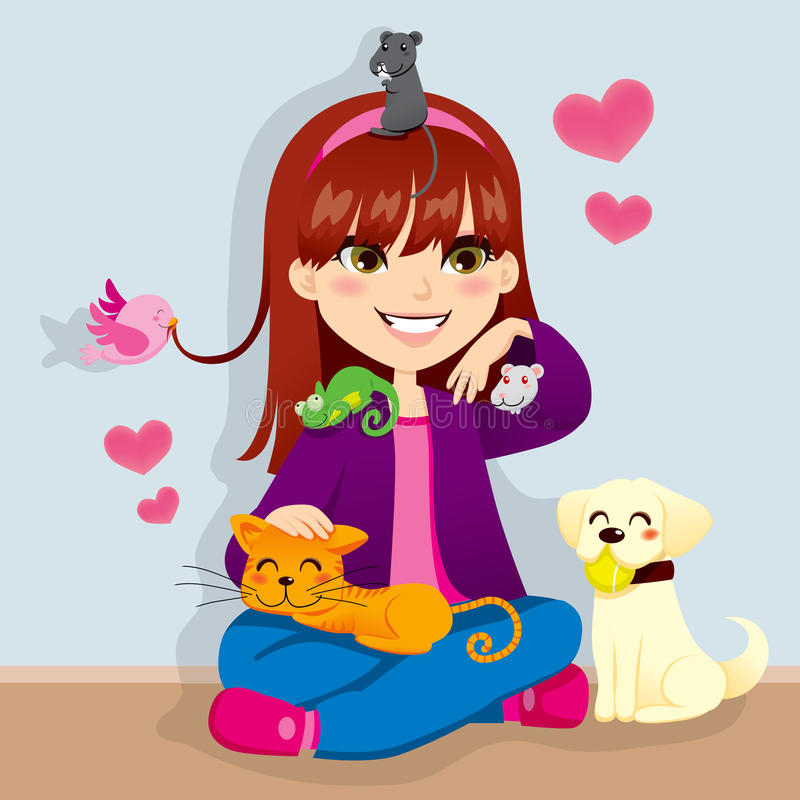 Pet Lover Girl. Pretty girl happy playing with her cute lovely little pets