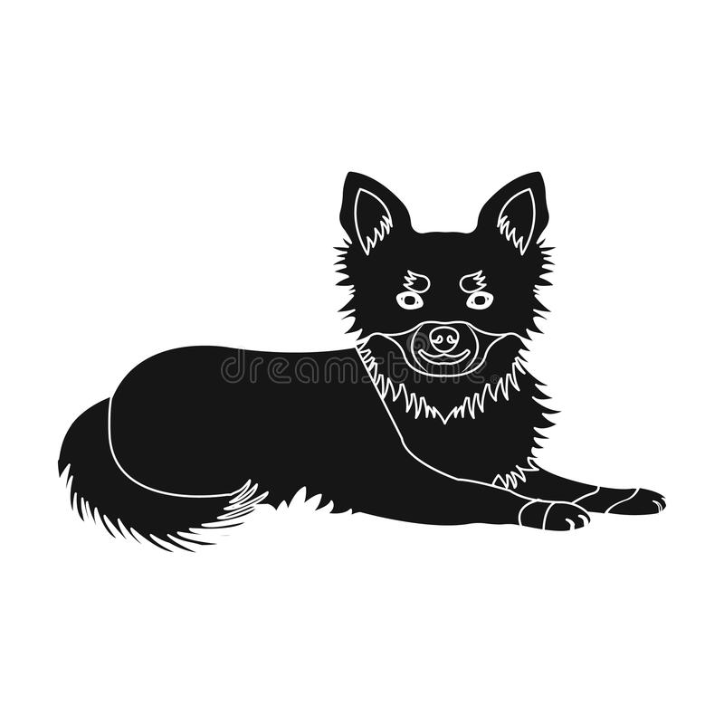A pet, a lying dog. Pet ,dog care single icon in black style vector symbol stock illustration web. A pet, a lying dog. Pet,dog care single icon in black style stock illustration