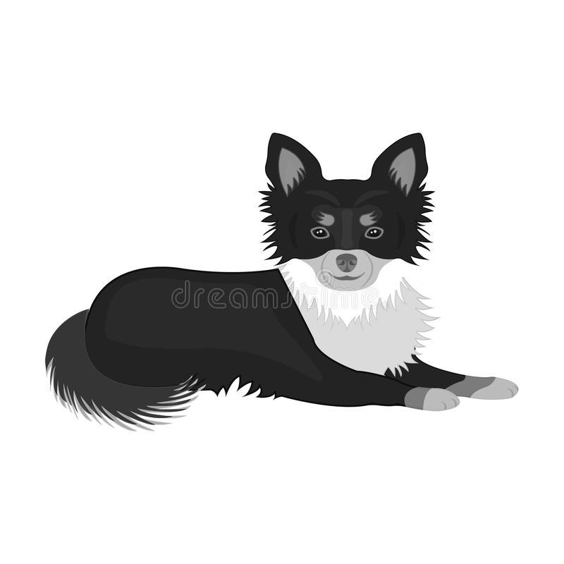 A pet, a lying dog. Pet ,dog care single icon in monochromt style vector symbol stock illustration web. A pet, a lying dog. Pet,dog care single icon in stock illustration