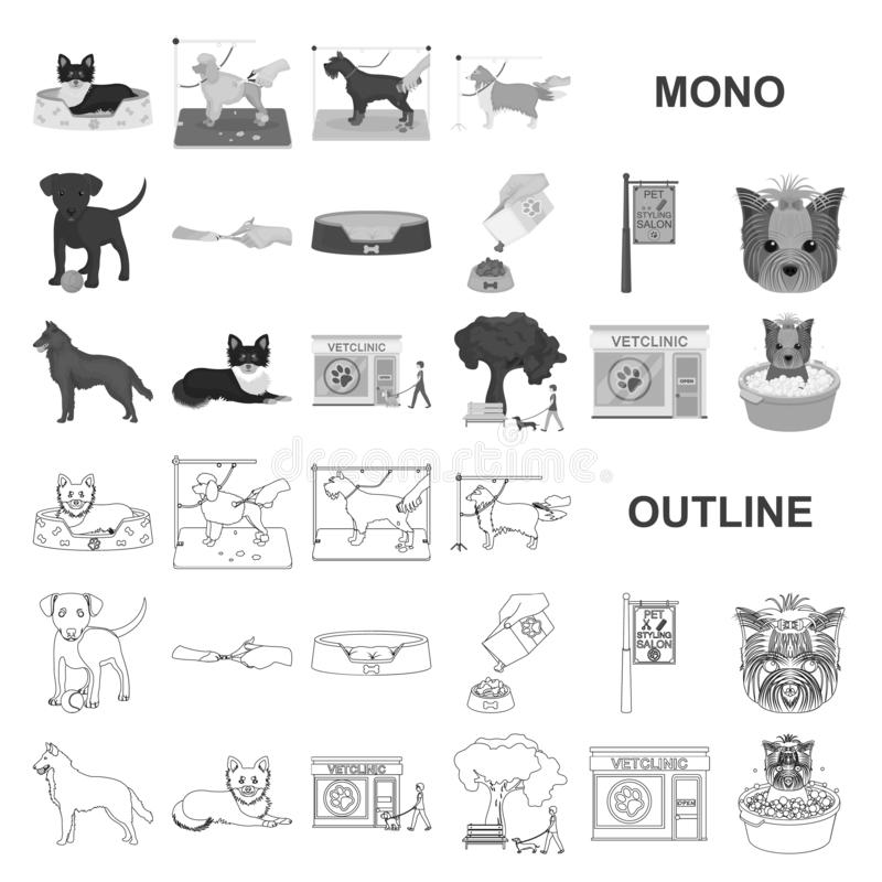 Pet monochrom icons in set collection for design. Care and education vector symbol stock web illustration. Pet monochrom icons in set collection for design stock illustration