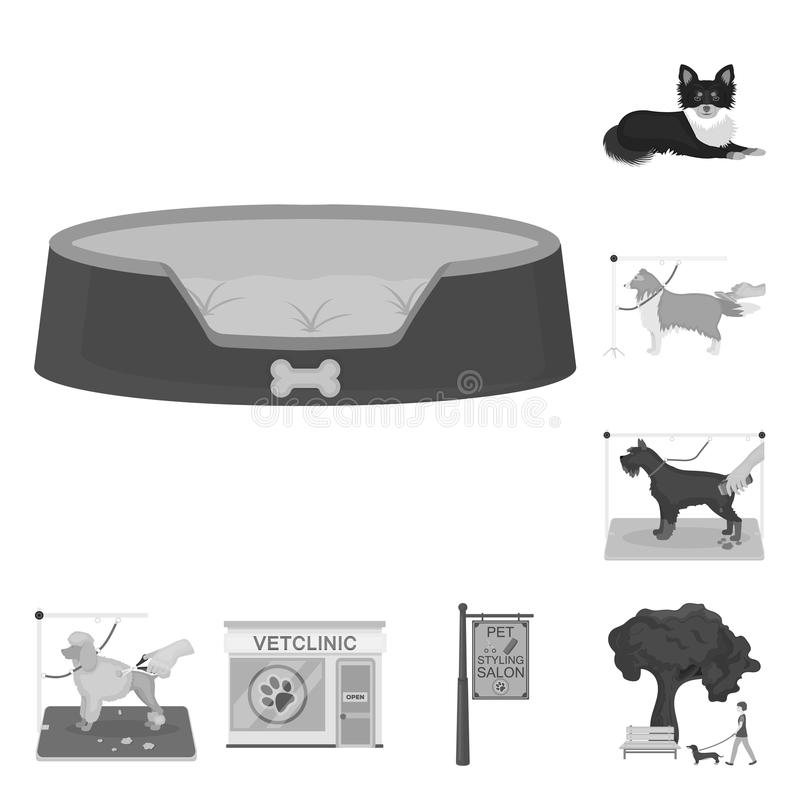 Pet monochrome icons in set collection for design. Care and education vector symbol stock web illustration. Pet monochrome icons in set collection for design stock illustration
