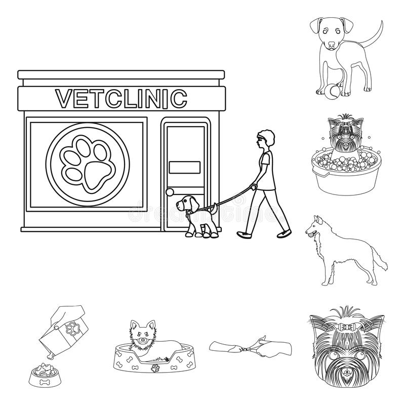 Pet outline icons in set collection for design. Care and education vector symbol stock web illustration. Pet outline icons in set collection for design. Care royalty free illustration