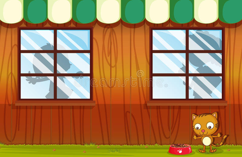 A pet outside the house. Illustration of a pet outside the house vector illustration