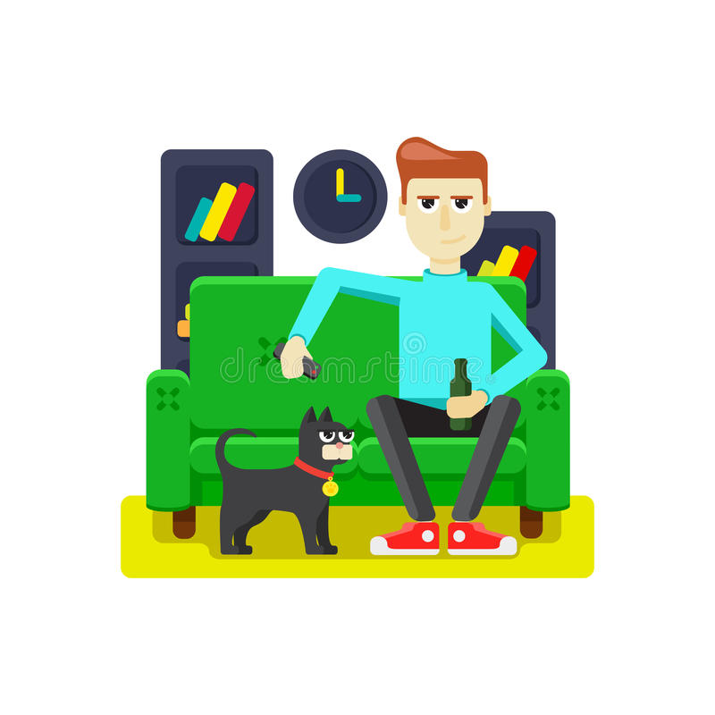 Pet with the owner. Of the apartment vector illustration