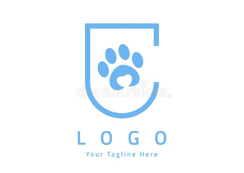 Pet paw love logo and icon design. stock illustration