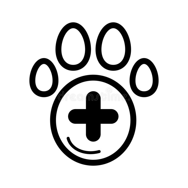 The pet paw and plus sign simple vector icon. Black and white illustration of veterinary hospital. Outline linear icon. royalty free illustration