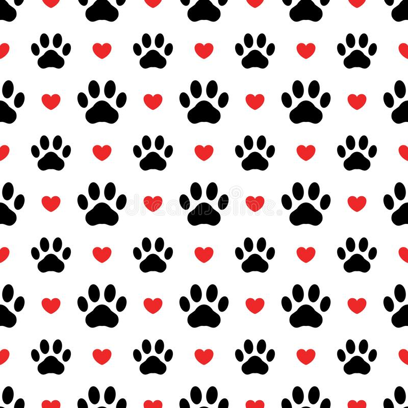 Free Pet Prints. Paw Seamless Pattern. Cute Background For Pets, Dog Or Cat. Foot Puppy. Black Silhouette Shape Paw And Red Heart. Foot Royalty Free Stock Images - 195426619