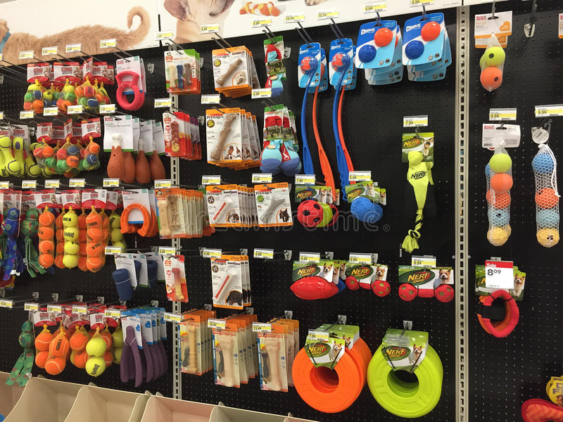 Pet products on shelves for sale at grocery store. Pet products on shelves for sale, grocery store Target USA royalty free stock photo