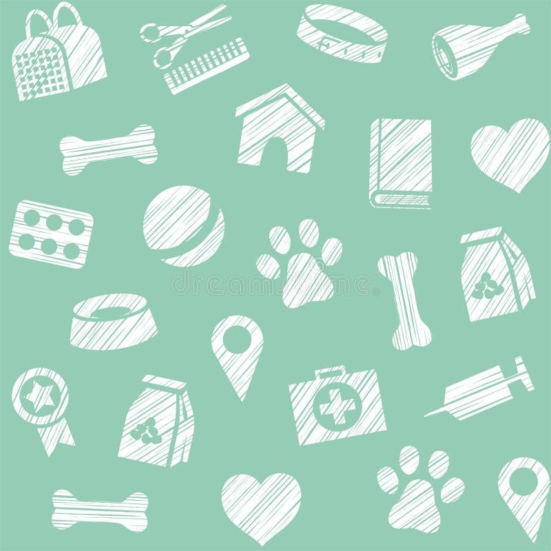 Pet produtos, teste padrão sem emenda, protegendo o lápis, azul esverdeado, vetor ilustração do vetor