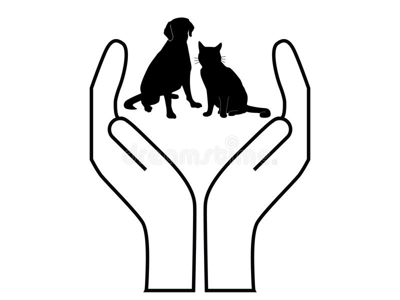 Pet protection. Vector illustration sign of a cat and dog between hands
