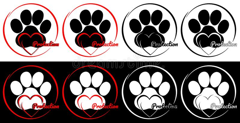 Pet protection logo for charitable organizations. vector illustration