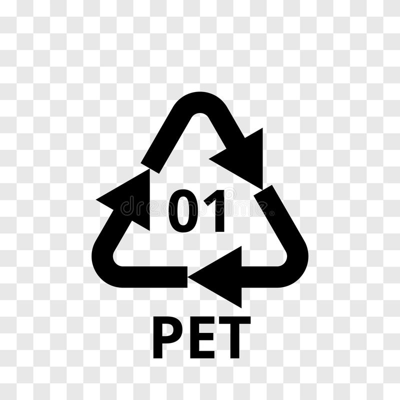 PET recycling code arrow icon for plastic polyester fiber, soft drink bottles. Vector recycle symbol logo transparent background vector illustration