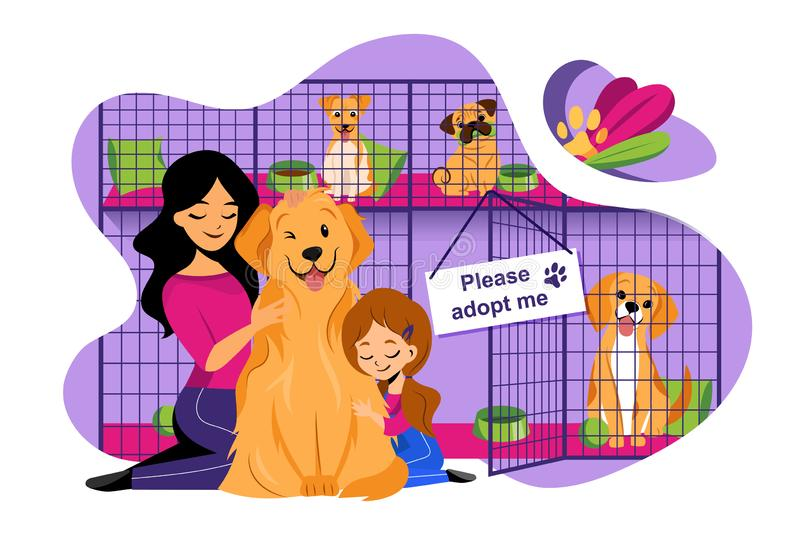 Pet shelter vector flat illustration. Adoption of homeless animals concept. Mom and daughter adopt cute dog from shelter royalty free illustration