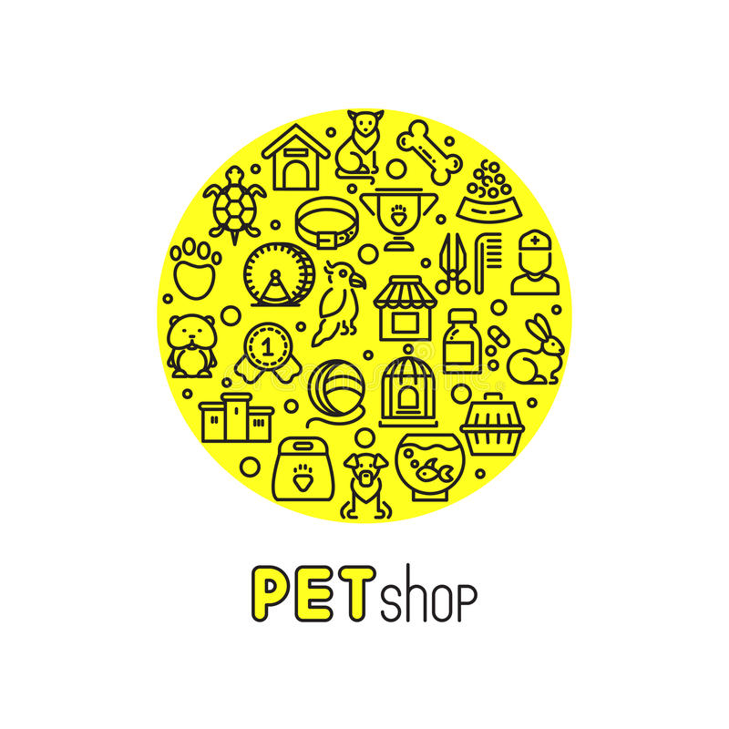 Free Pet Shop And Vet Clinic Vector Logo With Line Icons Of Cats, Dogs, Goods For Animals Royalty Free Stock Photography - 78657327