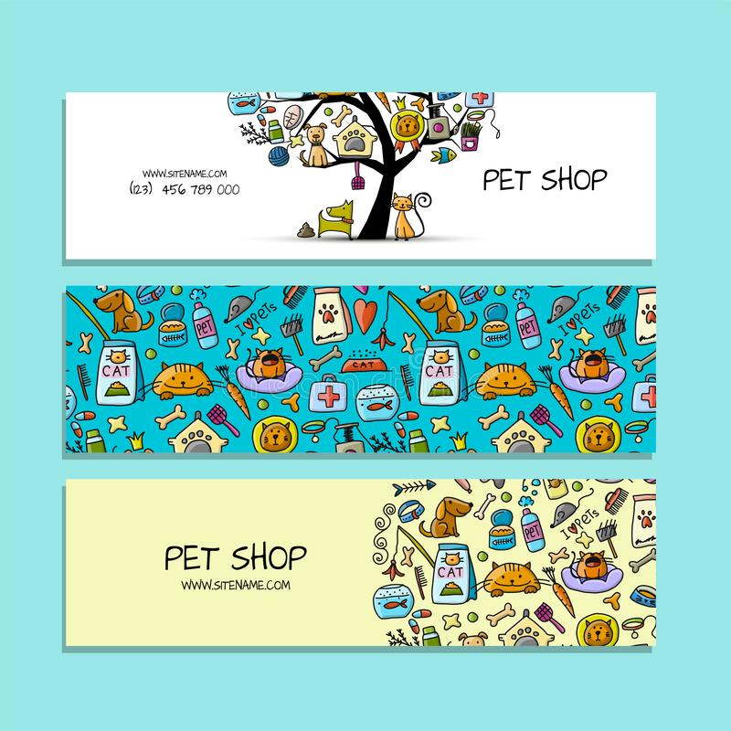 Pet shop collection, banners design royalty free illustration