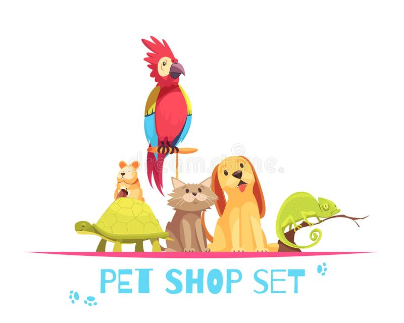 Pet Shop Composition. With domestic animals parrot, hamster, chameleon, dog and cat on white background vector illustration stock illustration