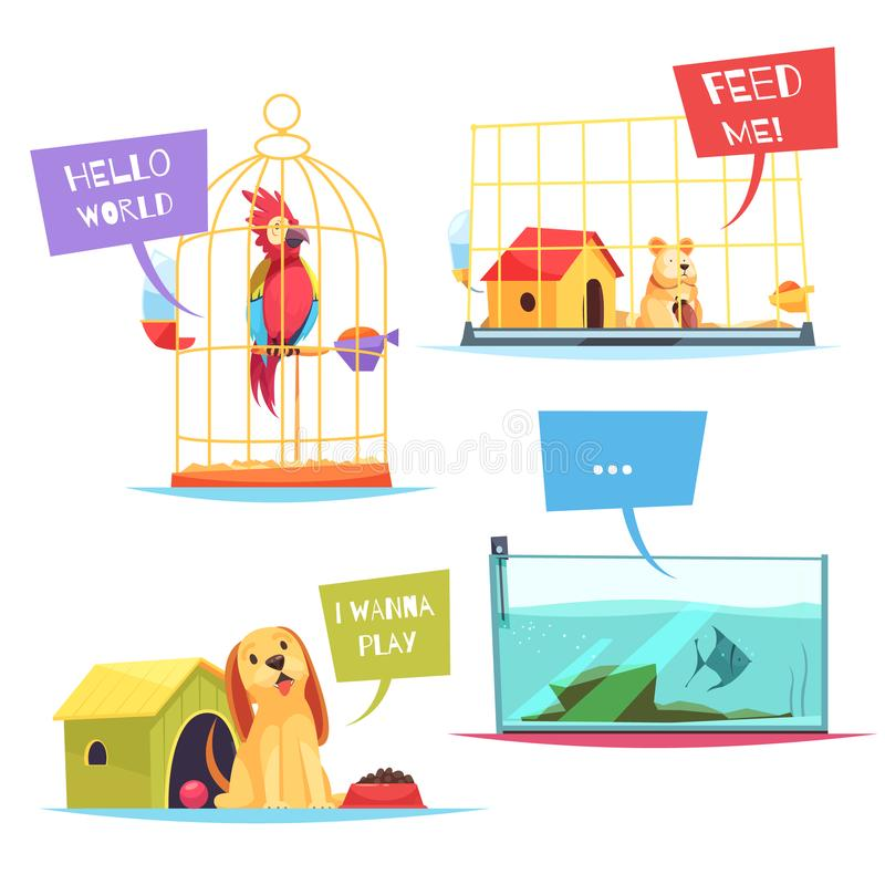 Pet Shop Design Concept. With playful puppy, colorful parrot, hungry hamster, fish in aquarium isolated vector illustration vector illustration