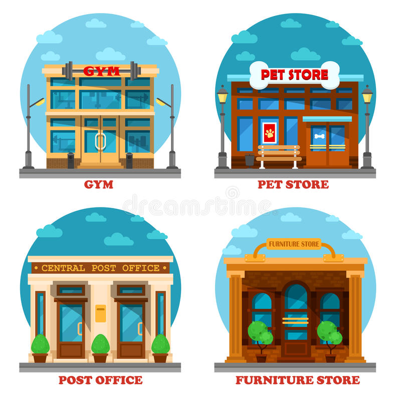 Pet shop and furniture store, post office, gym stock illustration